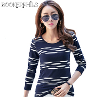 2017 Fashion Patchwork Spring Autumn Women Long Sleeve T Shirt Plus Size Casual Slim Tops For