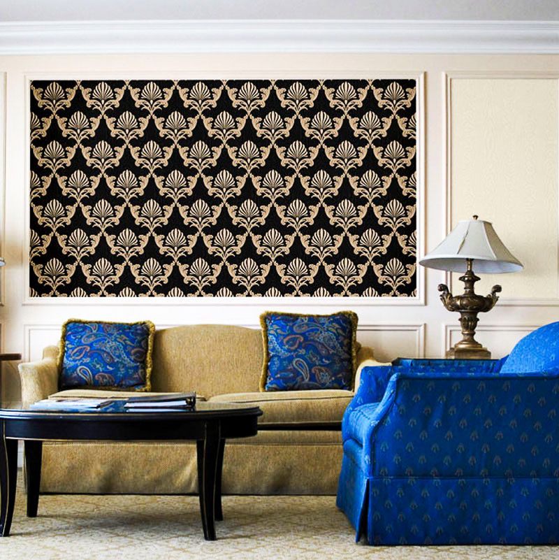 Luxury Western Style Classic Design Shell Damask 3D Embossed Metallic Texture Wallpaper Black White Beige Wall Paper Roll 10M white yellow embossed 3d stereoscopic stripe wallpaper roll luxury marble texture flocking non woven wall paper home decor 10m