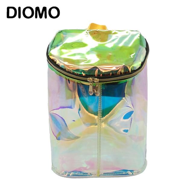 DIOMO Women Transparent Backpack Holographic High Quality Laser Hologram  Backpack Girls Shoulder Bag bolsos de pvc