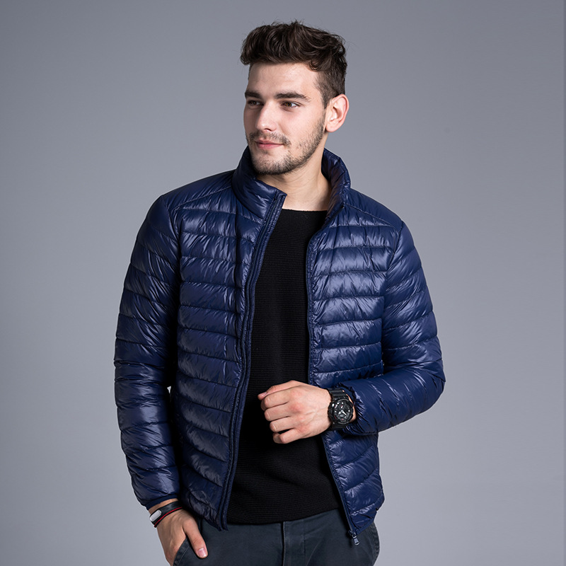 New Autumn Winter Warm Men's White Duck   Down   Jacket Big Size Light Thin   Coat   Casual Stand Collar Outwear Male   Down     Coats