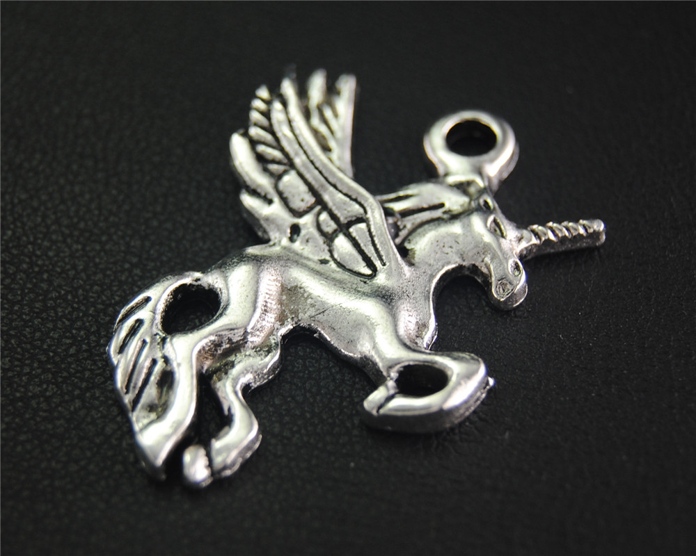 5pcs Antique Sliver Unicorn Animal Charm Fit Bracelets Necklance DIY Metal Jewelry Making 34X30mm A2058 ...