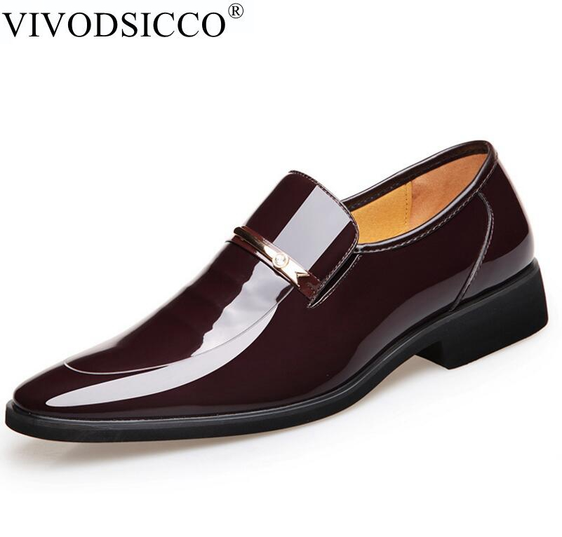VIVODSICCO Vintage Design Patent Leather Oxford Shoes For Men Dress Shoes Men Formal Shoes Pointed Toe Business Wedding Shoes bimuduiyu patent leather oxford shoes for men loafers dress shoes formal shoes pointed toe business fashion groom wedding shoes