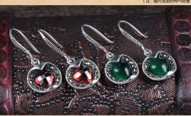 Apple-shaped 925 silver earrings female models retro style Thai silver agate inlaid silver earrings long section