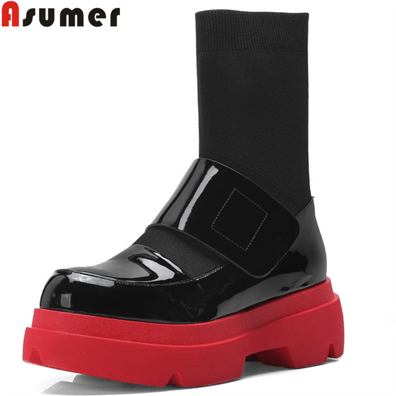 ASUMER 2018 fashion ankle boots for women round toe platform genuine leather boots classic motorcycle boots ladies shoes women ASUMER 2018 fashion ankle boots for women round toe platform genuine leather boots classic motorcycle boots ladies shoes women
