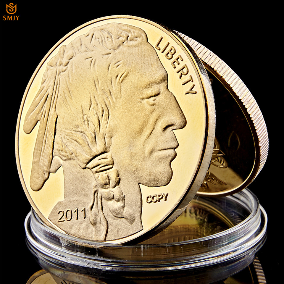 الأمريكيين الأصليين والولايات المتحدة الأمريكية الحرية الجاموس الياك في الله نحن نثق الذهب التحدي عملة قابلة للتحصيل عملات غير رسمية  - AliExpress