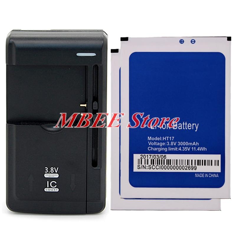 imágenes para 1 lot = 1 unid batería cargador universal + 2 unids o homtom ht17 para homtom ht17 pro batería acumulador akku 3000 mah