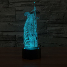 7 Colors Visual 3D Led Sailboat Building Shape Kids Night Lights Gifts Touch USB Baby Sleeping Lighting Bedroom Decor Table Lamp creative 7 color horse head lamp 3d visual led night lights for kids touch usb table lampe baby sleeping night light