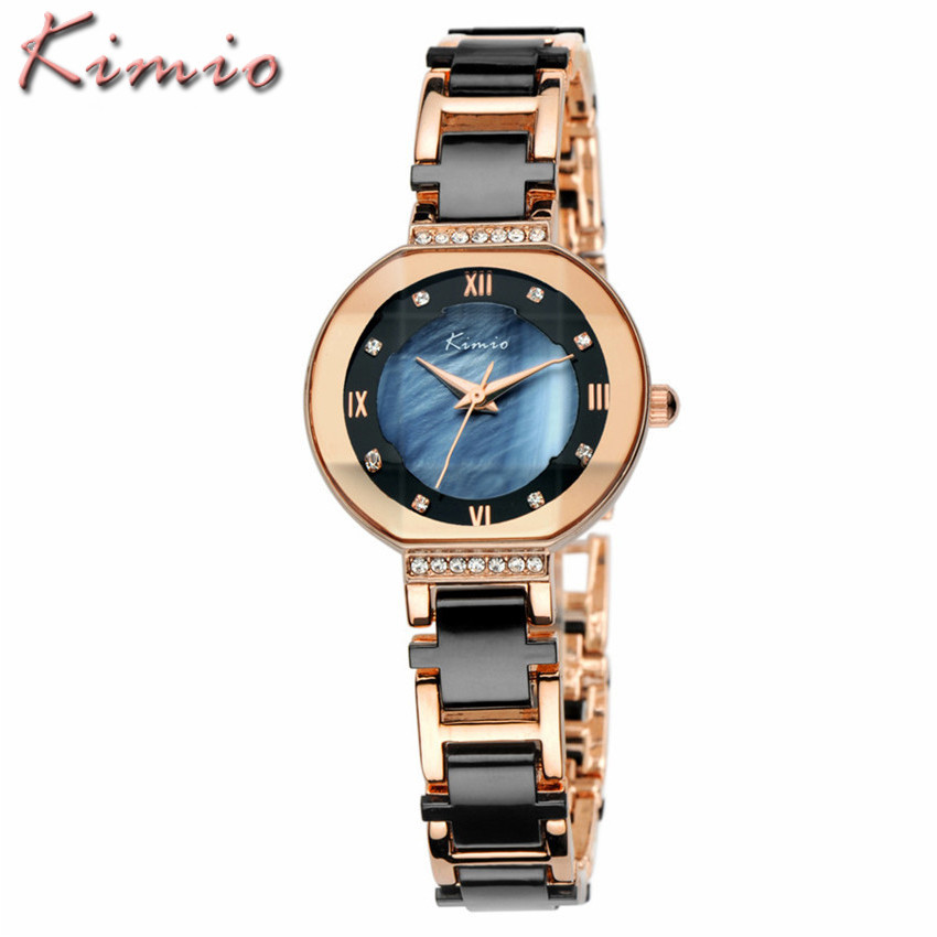 KIMIO Brand Fashion Luxury Ceramic Women Watches Imitation Ladies Bracelet Quartz WristWatch Relogio Feminino Relojes Mujer 2017 kimio brand bracelet watches women reloj mujer luxury rose gold business casual ladies digital dial clock quartz wristwatch hot