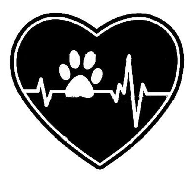 US $1 02 45% OFF|15 5 cm * 14 cm Heart Beat Tim Dog Paw Print Thời Trang Xe  Nhãn Dán Màu Đen/Bạc Vinyl Decal S6 3866 trong 15 5 cm * 14 cm