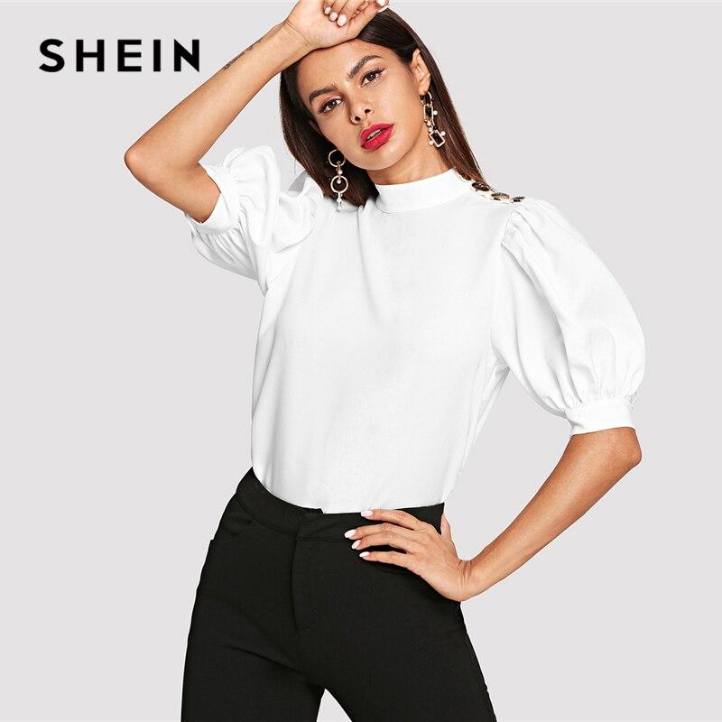 SHEIN Weiß Elegante Büro Dame Schulter Taste Puff Hülse Stehkragen Solide Bluse Sommer Minimalis Frauen Tops Und Blusen
