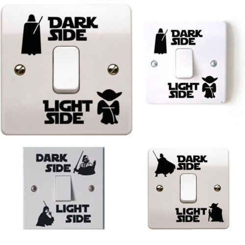 Star Wars lumière noire interrupteur latéral panneau autocollants vinyle décalcomanie autocollant chambre enfant Lightswitch mur