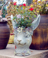 resin Garden flowerpot originality Rabbit head Planting green plants Potted flower arranging Garden courtyard decoration