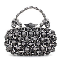 Latest Skull Shape Evening Bag Luxury Crystal Clutches Evil Eye Diamond Party Purse Wedding Bride Golden