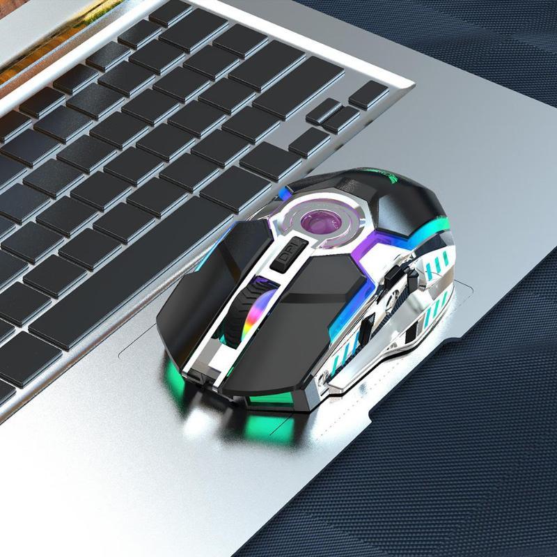 עגלות פג HXSJ עכברים אלחוטיים 2.4G ZERODATE-T30 עכבר RGB 2400DPI עכבר נטען מתכוונן עבור Windows 98 / Me / 2000 / XP / Vista / Win7 / 8/10 (3)