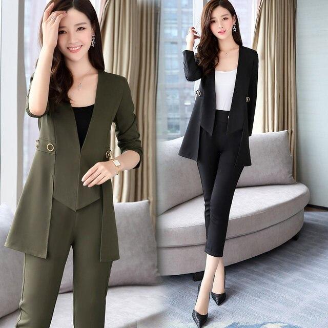 Pants Women's Office Business Suite Uniform Style Fashion Elegant Camel  Pants Set 2017 Official Workwear Set