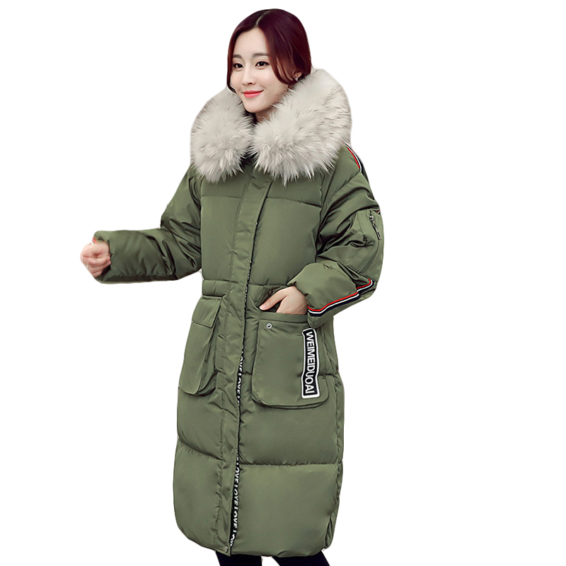 2017 New fashion Winter Women padded Jacket Female Slim long Down cotton Wadded Coat Women Hoodies Parkas Plus Size L-5XL CM1339 linenall women parkas loose medium long slanting lapel wadded jacket outerwear female plus size vintage cotton padded jacket ym