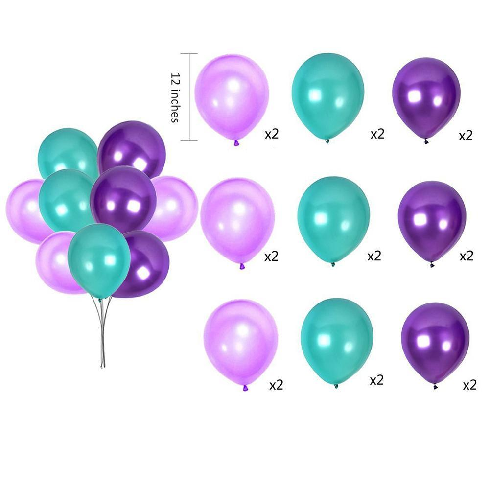 36PCS Under The Sea Theme Party Purple Pom Poms Paper Flower Ball Paper Lantern Latex Balloon Baby Birthday Party Decoration Set in Ballons Accessories from Home Garden