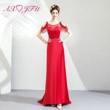 AXJFU princess red pearls satin mermaid evening dress vintage o neck beach beading trumpet 7601