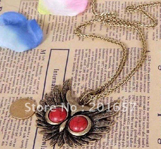 DN-278 fashion freeshipping vintage star's favorite RED rhinstone EYES necklace COOPER   12pc/lot