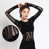 المرأة شبكة الجوف خارج أسود الرياضية t قميص كامل الأكمام سريعة الجافة تنفس اللياقة تجريب أعلى كمال الاجسام الملابس المحملات