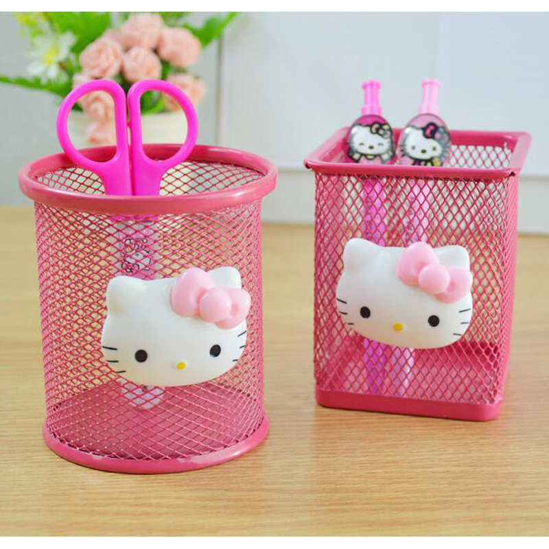 L57 Kawaii Hello Kitty Pink Hollow Metal Pencil Pen Holder Storage Box Stand Manage Case Student Stationery Household