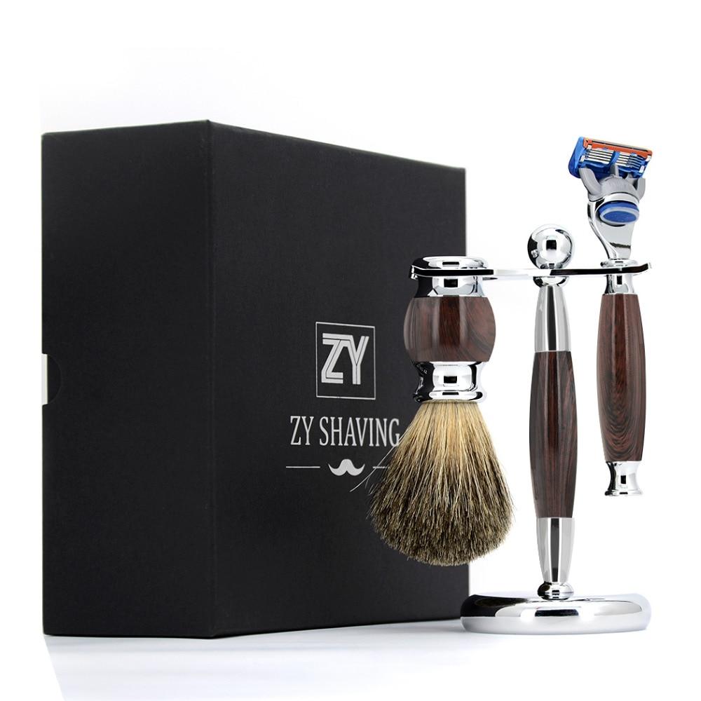 ZY 3 / 5 / Double Edge Men Shaving Set Kit Pure Badger Hair Shaving Brush +Shave Beard Brush Stand Holder + Safety Blade Razor verawood wood pure badger shaving brush and de safety razor set