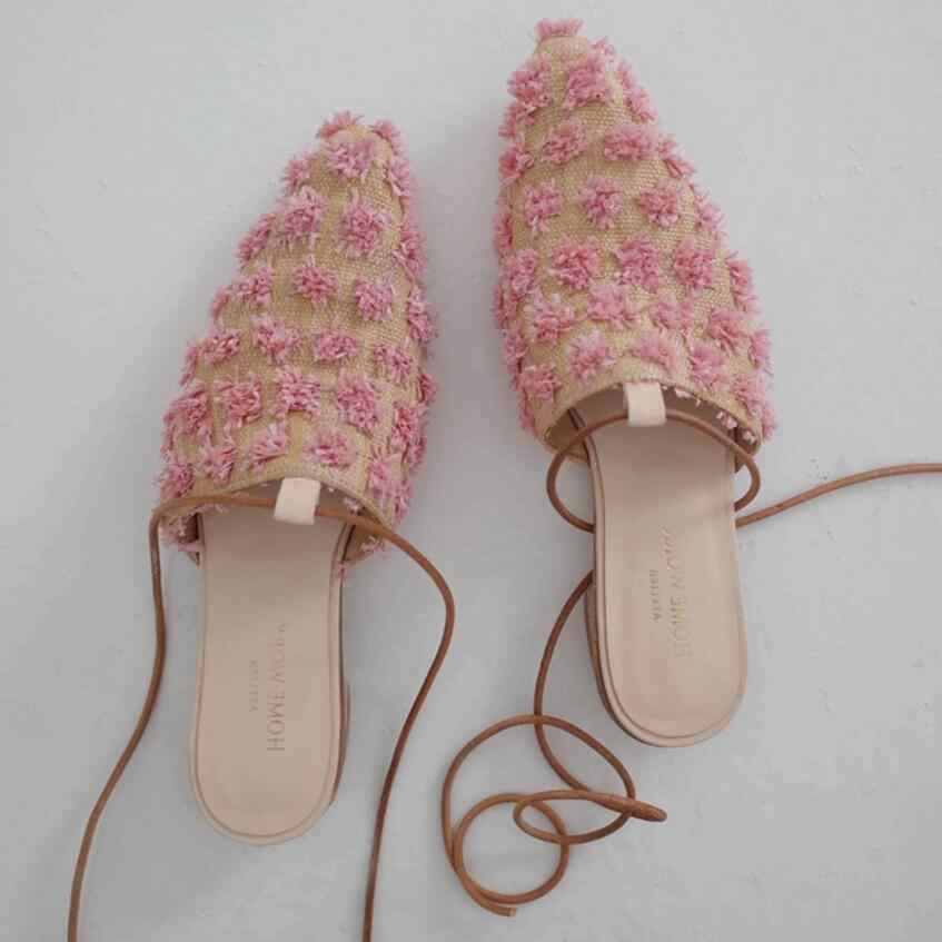 pointed toe floral decoration sandals women lace up slippers sweet pink flower flip flops rope band mules flat summer shoes 174