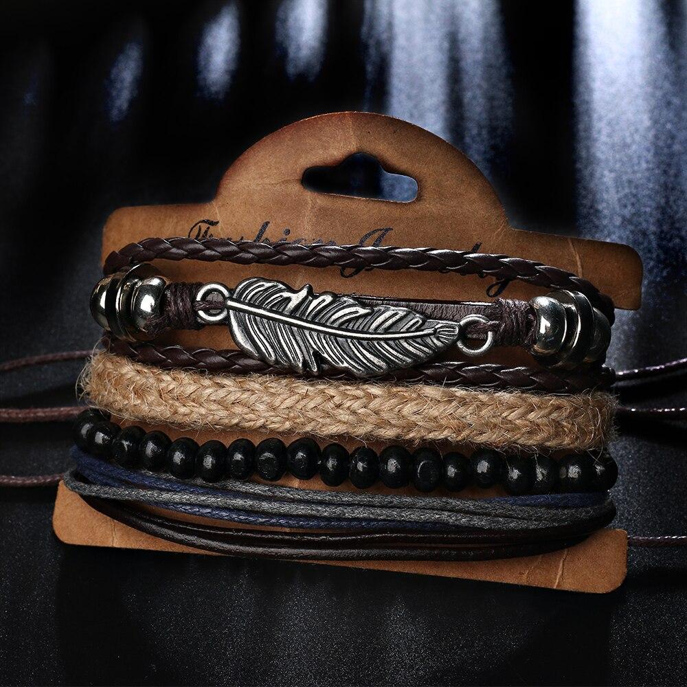 Braided Brown Leather Mens Bracelet
