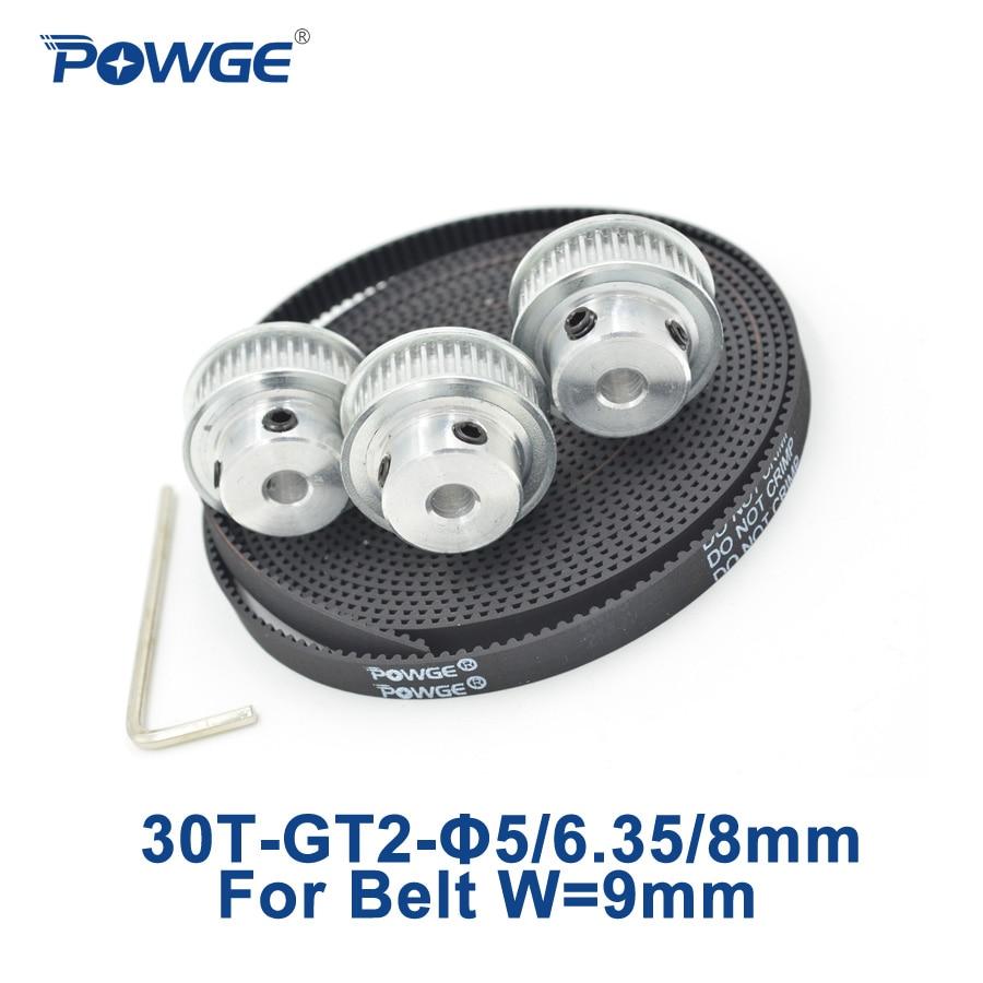 POWGE 3pcs 30 teeth GT2 Timing Pulley Bore 5mm 6.35mm 8mm + 3Meters width 9mm GT2 Synchronous Belt 2GT pulley Belt 30T 30Teeth powge 8pcs 20 teeth gt2 timing pulley bore 5mm 6mm 6 35mm 8mm 5meters width 6mm gt2 synchronous 2gt belt 2gt 20teeth 20t