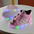 2017 New Spring LED Lighted Dirls Boys Fashion Children Breathable Casual Shoes Leather Hello KT Solid Girls Kids Shoes JRQIOT