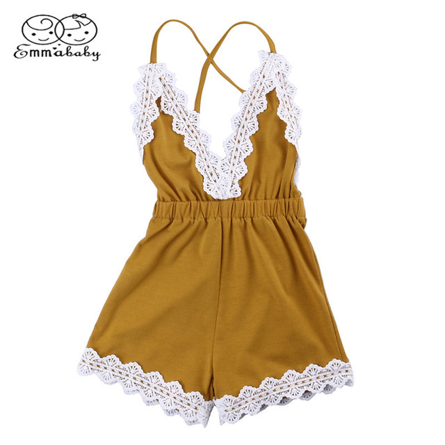 0dafc27ce798 Emmababy Toddler Baby Girl Strap Newborn Sleeveless Romper Lace Jumper Jumpsuit  Summer Clothes