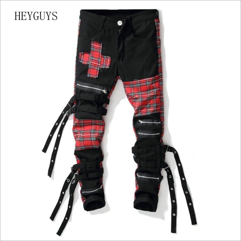 NAGRI Men's Scotland Plaid Patchwork Cross Slim Straight Jeans Trendy Bandage Denim Pants
