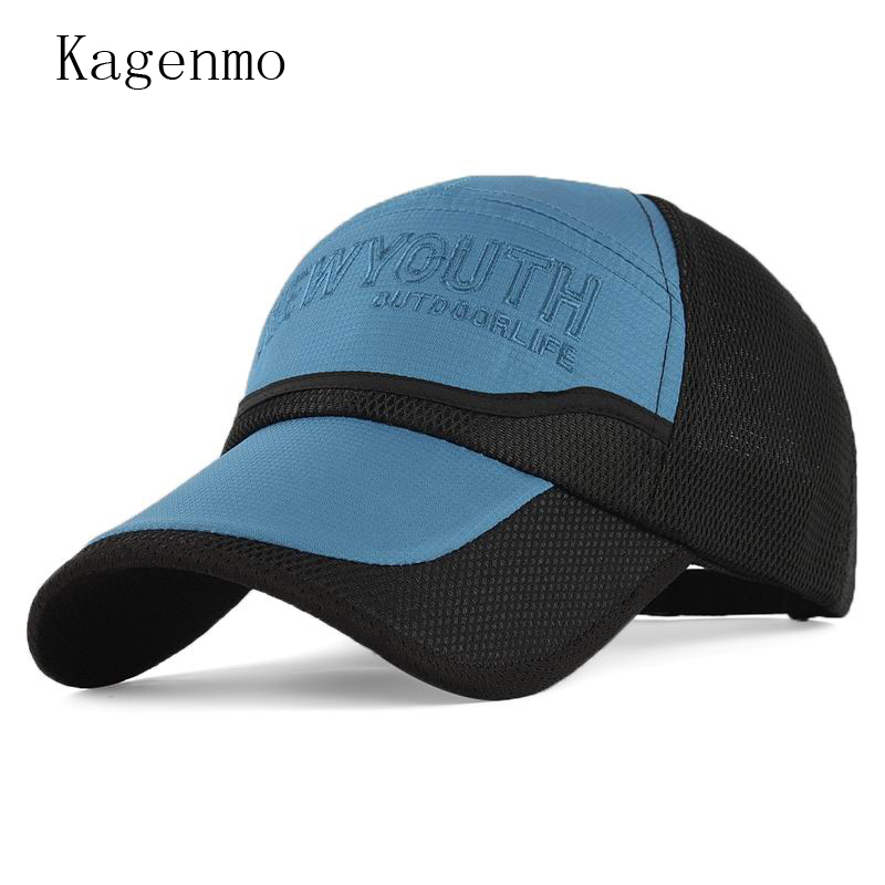 Kagenmo Hat For Man Mesh Cap Summer Baseball Cap Large Brim Sunhat Sun-Shading Male Caps Summer Hat Breathable women ladies polyester wide large brim hat summer beach sun visor removable breathable cap