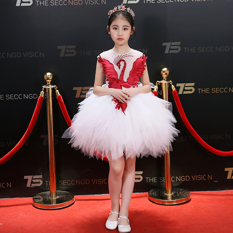 Swan Design Flower Girl Dresses White Ball Gown Princess Evening Dress for Prom Party Beading Knee-Length Kids Formal Dress contrast trim jogger casual sports athletic pants