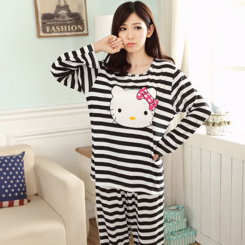 Black white striped pajama for women sleep winter spring nighties kitty pjs  BBLLWWH 5028e913af