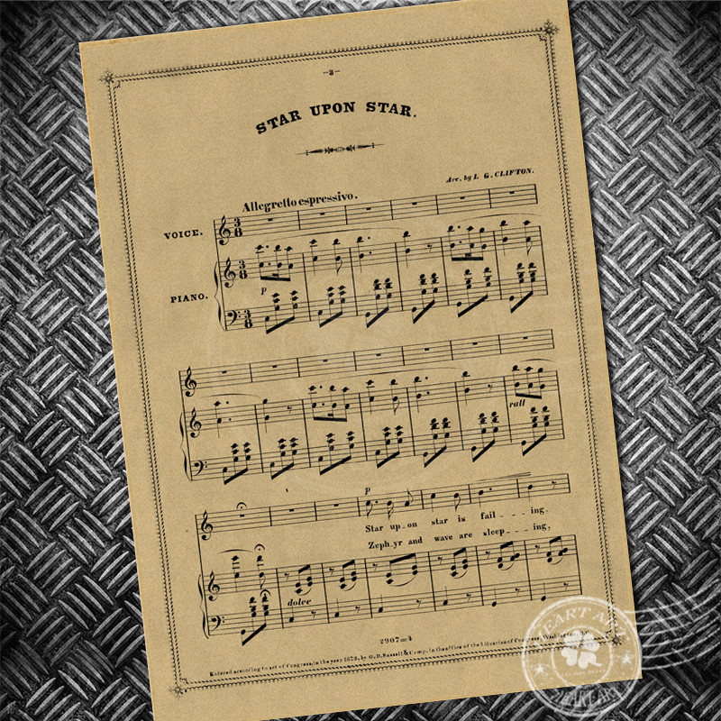 Vintage poster Musical note stave Retro paper print picture Wall art ...