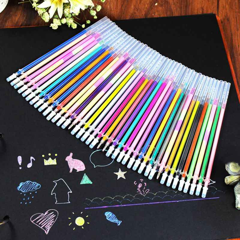 24/48 Office & School Home Decor DIY Fluorescent Gel Colorful Paintings Drawing Pen Party Brushes Refills Watercolor Refills
