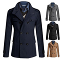 Mens Fashion Windbreaker Solid Color Fleece Jacket  Double Breasted British Style Coat Casual Jacket Long Coat Male;ropa hombre