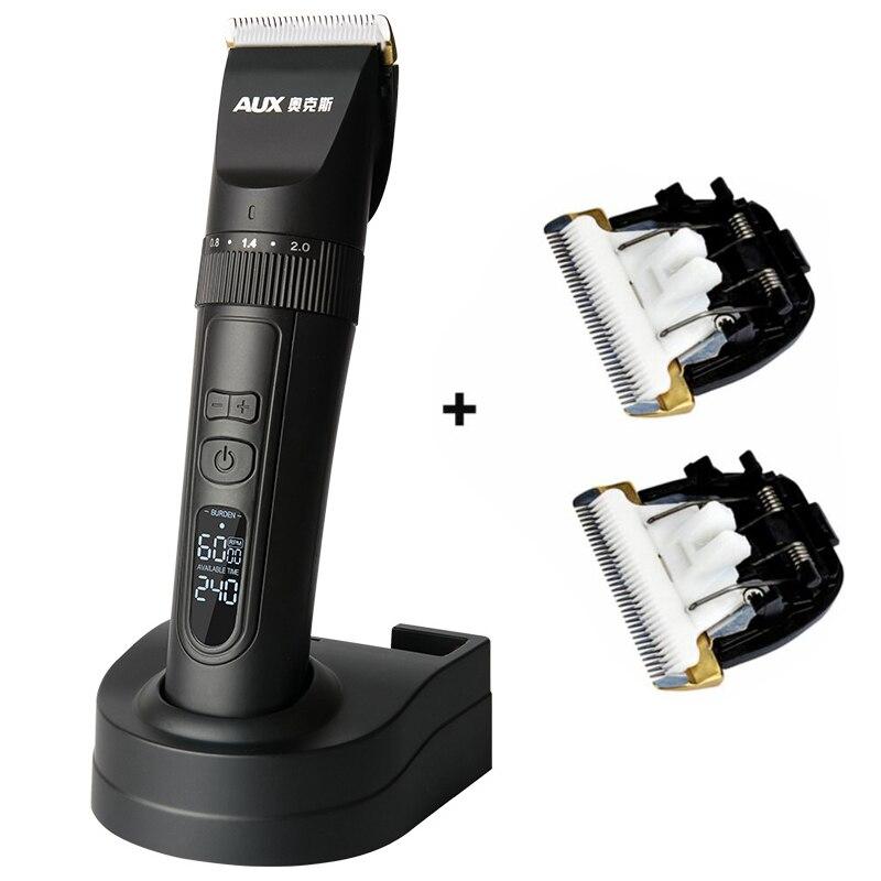 Profesjonalna elektryczna maszynka do strzyżenia włosów wyświetlacz LCD akumulator włosów trymer nóż ceramiczny tytanowy dla Salon maszyna do cięcia włosów w Trymery do włosów od AGD na  Grupa 1