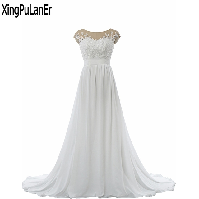 9deb328cf2483 vestido de noiva A Line Scoop Neck Short Sleeve Illusion Neck Lace  Appliques White Chiffon Long Bride Gowns Wedding Dress