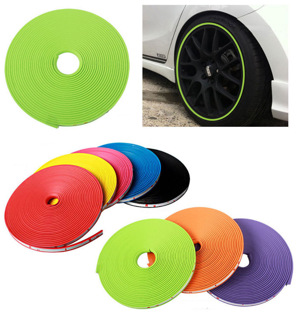 Free Shipping New Car Styling Decoration Auto Accessories Car Wheel Protector Rim Cover Ring Tire 3M Glue Sticker For Car Wheel