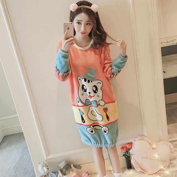 3cb0935ad ... New spring ladies girls princess Cartoon warm fleece sleepwear  nightwears nightgown sleeping hello kitty dress
