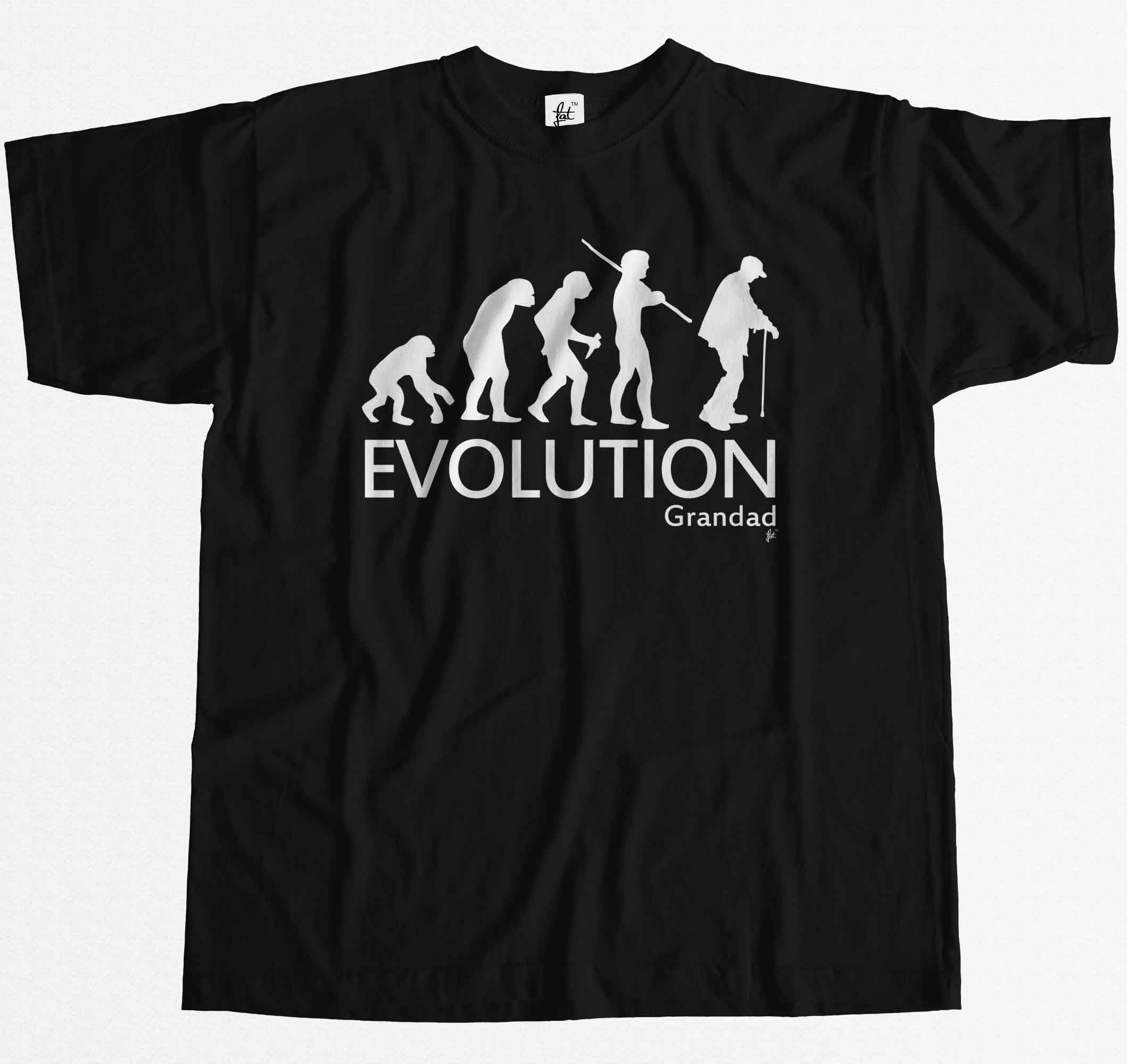 Evolution Grandad Funny Fathers Day Birthday Christmas Mens T-Shirt Summer Casual Man T  ...