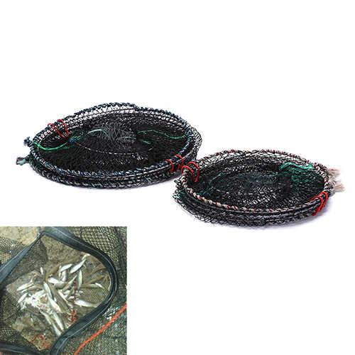 Venda quente 1pc pesca dobrável armadilha cast manter net caranguejo lagostins lagosta apanhador pote armadilha peixe net enguia camarão isco vivo