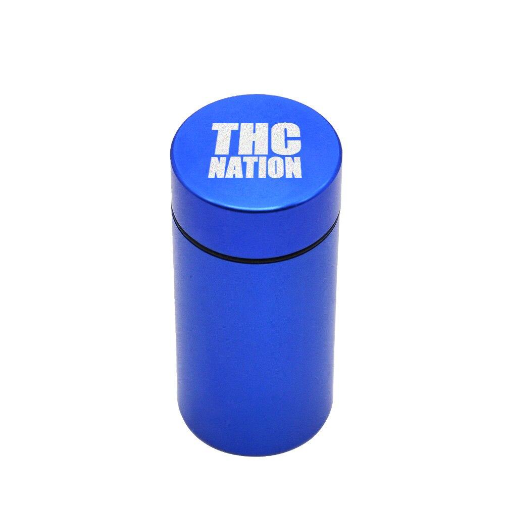 Тайник jar-герметичная запах доказательство Алюминий травы контейнер травы Шлифовальные станки курительная трубка Pill Box, отправить сигары держатель+ Стекло советы для - Цвет: Blue-ThcNation