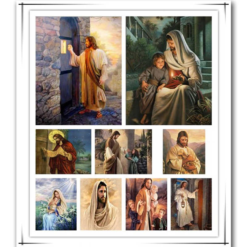 Needlework Diamond Embroidery Jesus came knocking Door Square 5d diy Diamond Painting Christian Series Full Drill Mosaic Picture