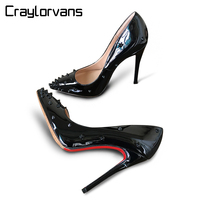 Craylorvans Top Quality Women Pumps Patent Leather Women High Heel 2017 Rivet Shoes Pointed Toe Women