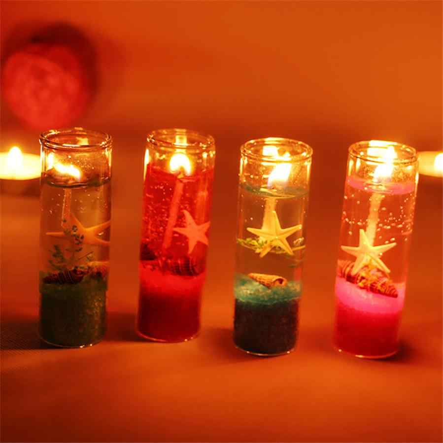 Hot sale Ocean Jelly Candle Wedding Party Decoration Glass Cup Shell Birthday Candle  Home Decoartion and Lighting drop shipping