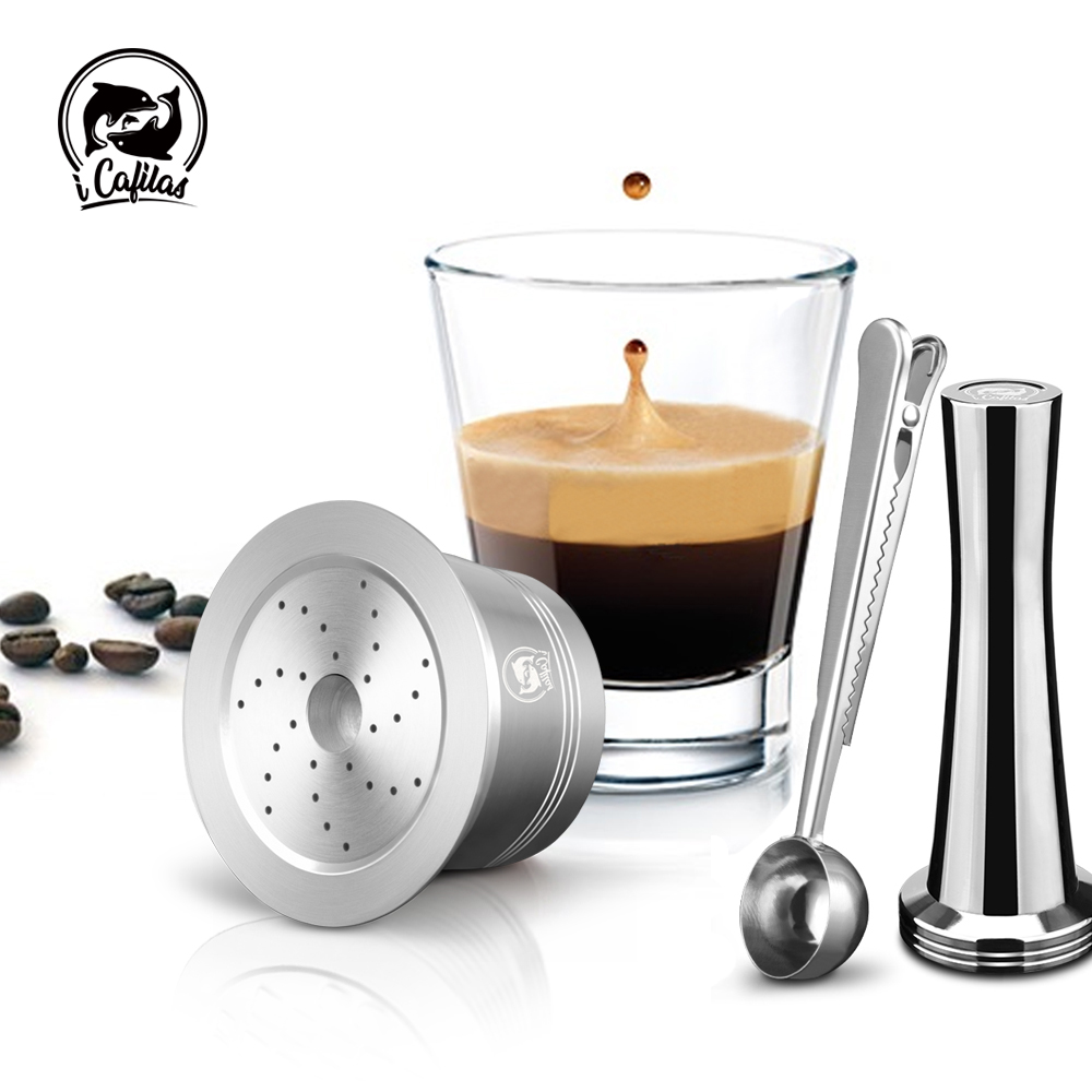 ICafilas Stainless Steel Refillable Reusable Caffitaly Coffee Capsule Cafeteira Filter for Tchibo Cafissimo Pure MachineICafilas Stainless Steel Refillable Reusable Caffitaly Coffee Capsule Cafeteira Filter for Tchibo Cafissimo Pure Machine