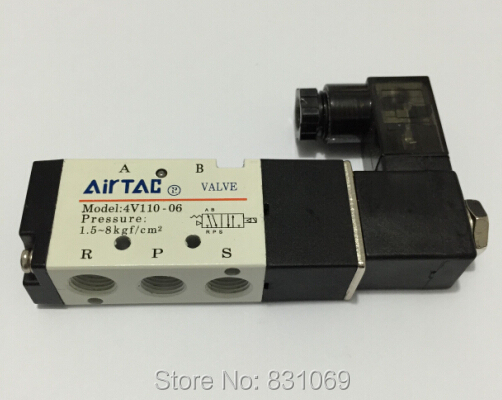 1Pcs 4V110-06 DC12V Lamp Solenoid Air Valve 5port 2position BSP Brand New 1pcs 4v110 06 ac220v lamp solenoid air valve 5port 2position bsp